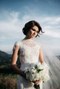 Modest wedding dress with lace sleeves from alta moda. --(modest bridal gowns)--