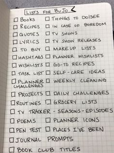 making BuJo #lists   .... lists about lists.... honestly, looking at this i think that someone who has time to make all these lists... should get out (and maybe use some electronic catchall (like evernote!!!!!) to capture these things.   LIVE don't LIST!!!!