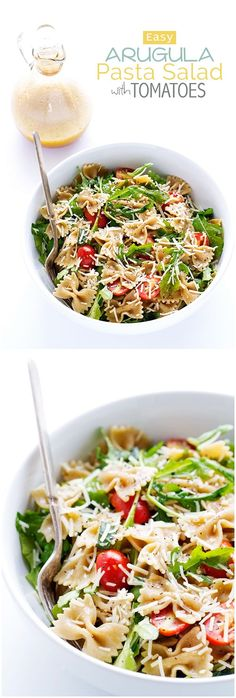 Arugula Pasta Salad - The Easiest Salad you'll ever make. Plus it uses up all those leftovers Argula Recipes, Pasta Recipes, Cooking Recipes, Vegetable Pasta Salads, Summer Pasta Salad, Vegetarian Recipes, Healthy Recipes, Easy Salads, Soup And Salad