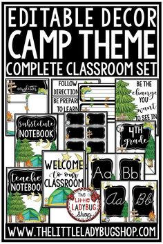 Are you looking for a Gorgeous Camp Theme Class Decor Editable Set? This Classroom Decor set includes EDITABLE options to meet your classroom needs! This custom classroom design is created with the simplicity that keeps a fun look. #classroomdecor #campingthemeclassdecor
