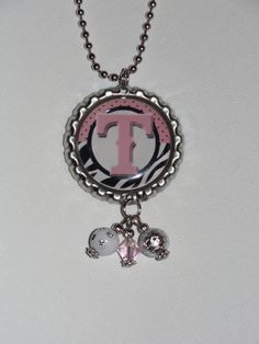 Texas Rangers bottle cap necklace in pink and by TwoTiarasBoutique, $8.00