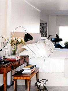 Bedside desk.  #bedroom #homedecor #homeinterior #interiordesign
