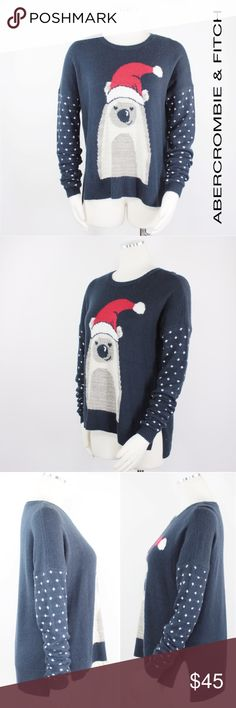 "A & F | Christmas Santa Snow Bear Navy Sweater 900 Abercrombie & Fitch Women's Christmas Sweater Navy Long Sleeve Drop Shoulder Crew Neck Pull Over Sweater. Polar Bear wearing a Santa Hat.  Snowflake Long Sleeves.  Lightweight and Soft! Retails $98 Size: M Medium  Shoulder: 28""  Sleeves: 22""  Armpit to Armpit: 23""  Length: 27""  Condition: Good!  Color: Navy Pattern: Christmas Material: 47% Acrylic, 28% Nylon, 25% Wool Country: China WT: 0.11 CSKU: 900; 3 All measurements are approximate and…"