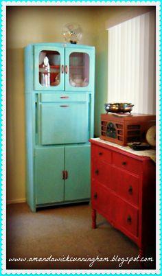 Vintage aqua blue cabinet