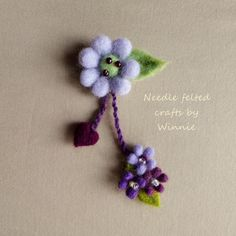 Needle felted flower brooch Purple dangling by FunFeltByWinnie, $38.00