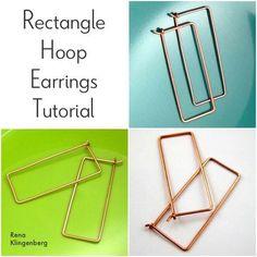 How to make Rectangle Hoop Earrings from Rena Klingenberg #Wire #Jewelry #Tutorials.