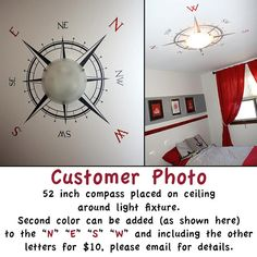 Compass Rose Vinyl Wall or Ceiling Decal 52 x by KrittahStickers