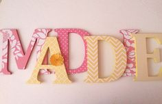 Wooden  letters for nursery in Coral pink and by SummerOlivias