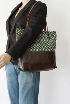 Brown Leather Tote Bag with Green Cotton Print