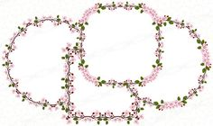 Frame Clipart, Vector Clipart, Cherry Blossom Vector, Vector Border, Scrapbook Borders, Frame Template, Heart Frame, Borders And Frames, Floral Garland