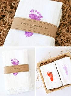 Baby's First Mother's Day Gift Idea -  stamp baby's footprint onto tea towels.