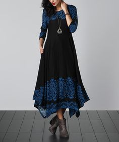 Another great find on #zulily! Black & Blue Lace-Print Handkerchief Maxi Dress by Reborn Collection #zulilyfinds