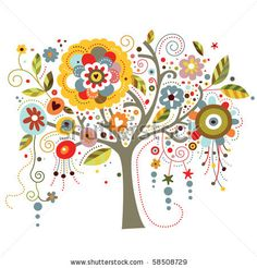Whimsical Flowers | Tree Richly Adorned With Whimsical Flowers. Stock Vector 58508729 ...