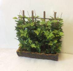 New Silk Green Ivy & Trellis In Log Bowl Artificial Silk Flowers Planter 12 inch