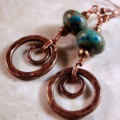 Green Jasper Earrings Copper Earrings by kellymaekreations on Etsy, $21.00