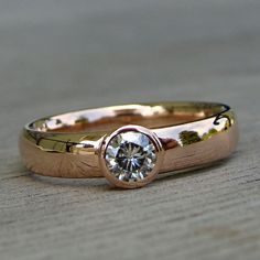 Engagment Ring - Moissanite and Recycled 14k Rose Gold, Made to Order - Eco-Friendly Diamond Alternative