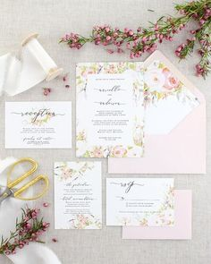 Romantic Pink Floral Wedding Invitation with Watercolor