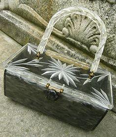 Vintage 50s Rialto Black Grey Marble Lucite Carved Clear Top Box Bag Handbag   eBay