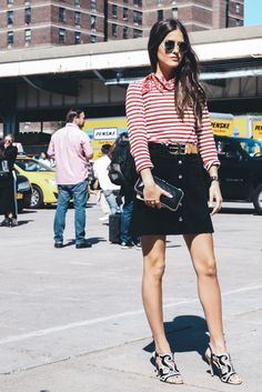 red striped top and mod skirt