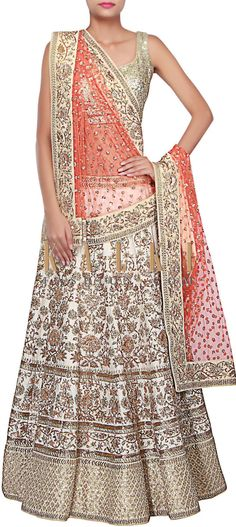 Buy Online from the link below. We ship worldwide (Free Shipping over US$100) http://www.kalkifashion.com/white-lehenga-adorn-in-zardosi-and-sequin-embroidery-all-over-only-on-kalki.html