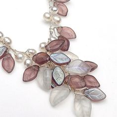 Violet Beaded Necklace Leaf Necklace Fairy by CherylParrottJewelry, $71.95