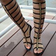 Shoespie Cut-out Zipper Knee High Flat Gladiator Sandals