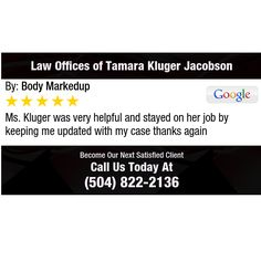 Ms. Kluger was very helpful and stayed on her job by keeping me updated with my case...