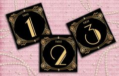 Great Gatsby Art Deco Table Cards 120 Table Numbers by StudioDMD, $5.00