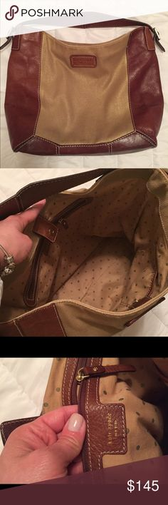Kate Spade Tote Bag Kate Spade Petaluma Malva Large Gold Canvas Brown Leather Hobo Tote Bag. Pre-owned but in excellent conditions kate spade Bags Totes