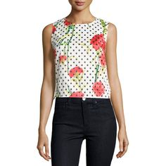 P. Luca Floral Polka-Dot Sleeveless Cropped Blouse (1,975 PHP) ❤ liked on Polyvore featuring tops, blouses, wht floral, black polka dot blouse, floral blouse, crop top, black floral blouse and black sleeveless top