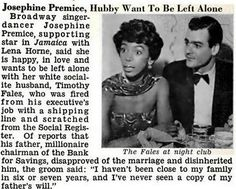 Josephine Premice and Husband Timothy Fales Want to be Left Alone Jet Magazine, December 11, 1958.