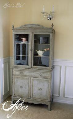 DIY:  Art Deco To English Cottage Chic - tutorial explains how this dated, veneered cabinet got its new look with ASCP & wax.
