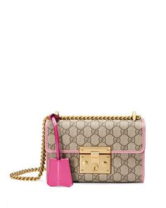 Padlock+Small+GG+Supreme+Shoulder+Bag,+Pink+Trim+by+Gucci+at+Neiman+Marcus.