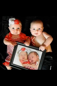 A great idea for any baby or babies. Take their newborn photo and let them hold it and see how much they change every Year. We did 6 months because as babies, they change so much.