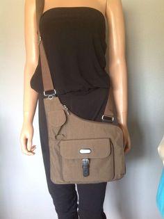 Baggallini Taupe Crossody Messenger Organizer Bag Ourse Designer Fashion Travel Messengercrossbody Nylon Tote