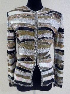 "Vintage Blazer 8 Silk Sequin Beaded Hand Embroidered ""Rare"" by Bergdorf Goodman #BergdorfGoodman #BasicJacket"