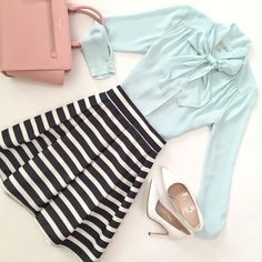 Mint bow blouse and striped pleated skirt