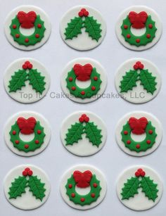 Fondant Cupcake Toppers Christmas Holly & Wreath by TopItCupcakes, $18.99
