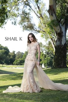 148a8acccc4fd Embellished Mermaid Style Champagne Prom Dress With Detachable Train 33924
