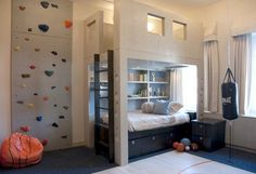 Rock Climbing. wall. in. a. room.    thats sweet (: