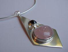 Garnet  rose quartz sterling silver tie pendant by AmiasDesigns, $125.00