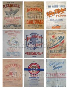 Vintage Flour, Sugar and Feed Sack Digital Collage Sheet - DIY Printable… Scrapbook Supplies, Scrapbooking, Decoupage, Atc Cards, Feed Sacks, Artist Trading Cards, Vintage Labels, Vintage Items, Unique Image