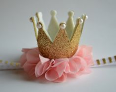 Gold Baby Crown Headband - Pink, Gold Crown Headband - Birthday Crown Headband - Gold Toddler Crown - Photo Prop Crown Headband -