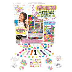 Just My Style Emoticon Message Beads, Multicolor