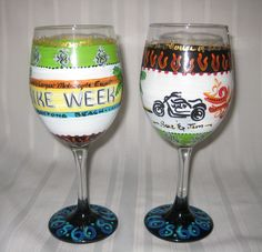 """rev up your engines and enjoy our hand-painted """"bike week"""" themed wine glasses, beer mugs or pilsners also available. glassware may be personalized with name or monogram or other design elements. $25 per piece for set of two or more"""