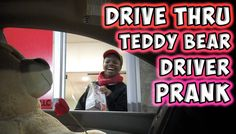 Talking Teddy Bear Driving a Car Surprises Unsuspecting Fast Food Drive-Thru Employees