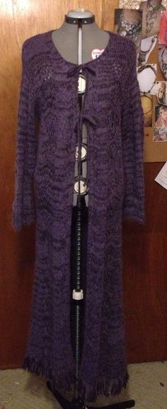 Purple Mohair Blend Long Duster Cardigan Sweater Coat L | eBay
