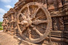 Stone wheels with erotic carvings at the Konark Sun Temple (India). The Konark Sun Temple is famous for the thousands of high-relief sculptures of Maithuna (sexual union in a ritual context). For more info about Maithuna, go to en.wikipedia.org/wiki/Maithuna. For more photos and information about this place, go to the Konark Sun Temple album.  Carving, Hindu Temple, Hinduism.