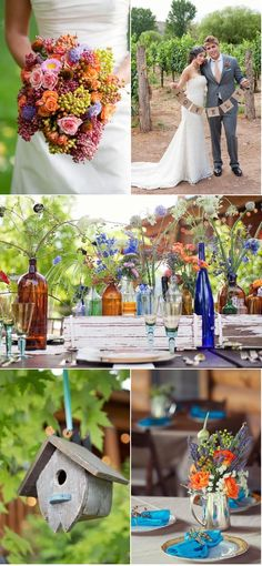 """tablescape assorted bottles in wooden crates stems flowers & bunting """"lovely"""" held by bride n groom"""