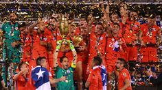 Claudio Bravo of Chile lifts the trophy after winning the Copa America Centenario